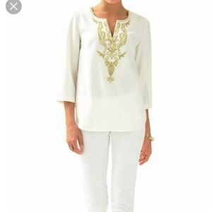 Lilly Pulitzer Dallas Top with Gold Embroidery 10